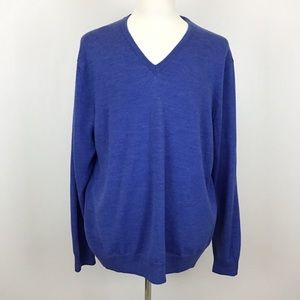 Calvin Klein CK Blue V-Neck Merino Wool Sweater